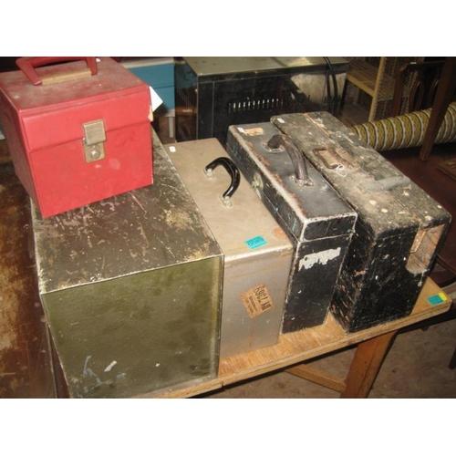 89 - Vintage Wooden Tool Box, 3 Handheld Filing...