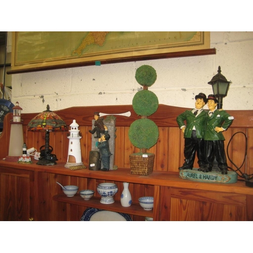 13 - Tiffany style Table Lamp, 3 Lighthouses, Faux Plant and 2 Laurel & Hardy Ornaments...