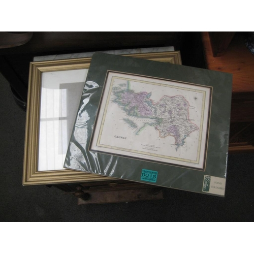 15 - Samuel Lewis Hand Coloured Reproduction Map of Galway and a Frame...