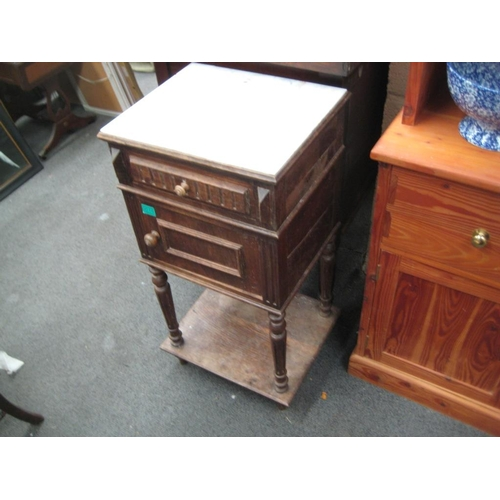 16 - French Marble Top Walnut Bedside Cabinet Early 20th Century (Old Worm)...