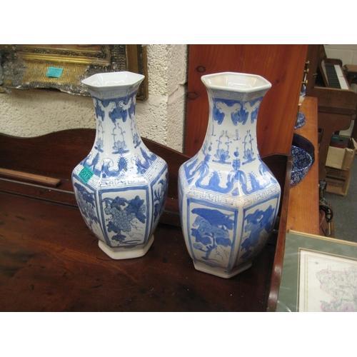 19 - Pair of Oriental Blue & White Vases - 36cm Tall...