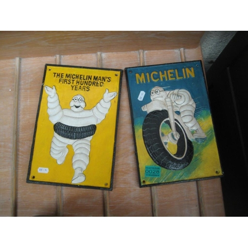 28 - Two Cast Iron Michelin Tyres Advertising Wall Plagues - 30cm x 20cm...