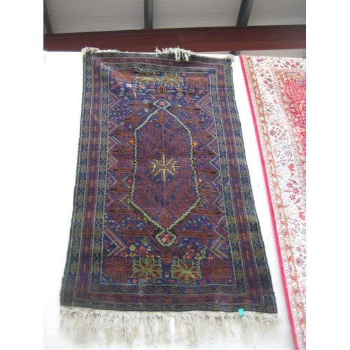 30 - Blue Ground Persian Rug with Central Handwoven Medallian Pattern...