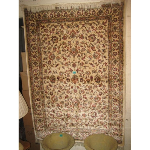 42 - Ivory Ground Kashmir Rug with Tree of Life Pattern - made on a Power Loom 170cm x 120cm...