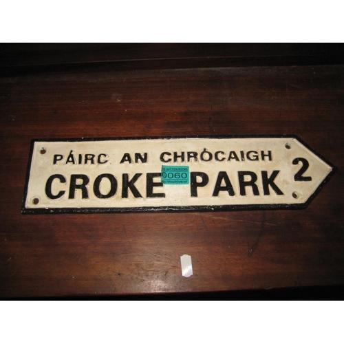 60 - Cast Iron Croke Park Road Direction Sign 40cm Long...