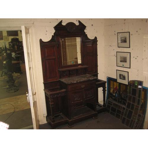 49 - Late Victorian Walnut Hall Stand (Marble Broken)...