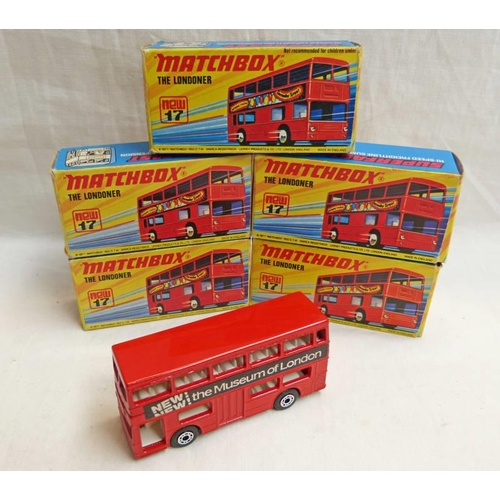 FIVE MATCHBOX SUPERFAST MB-17 LONDON BUSES WITH LIVERIES