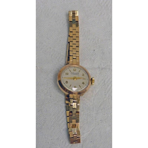 31 - 9CT GOLD CASED NIVADA WATCH AND 9CT GOLD BRACELET 17 GRAMS GROSS...