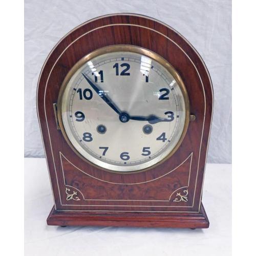 1001 - EARLY 20TH CENTURY BONE INLAID WALNUT MANTLE CLOCK - 29 CM TALL...