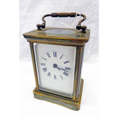 1007 - EARLY 20TH CENTURY BRASS CARRIAGE CLOCK WITH ENAMELLED DIAL...