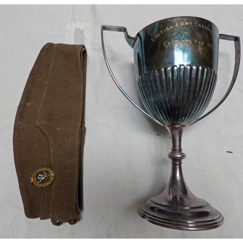 1008 - ROYAL CORPS OF SIGNALS CAP WITH BADGE BRITISH ARMY CHAMPIONSHIP TROPHY, CALCUTTA 1922 WINNERS THE BL...