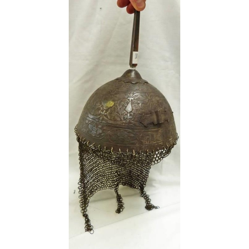 1009 - INDIAN KULAH KHUD HELMET WITH HEMISPHERICAL BOWL DECORATED WITH FOLIAGE AND CALLIGRAPHY, MAIL NECK G...