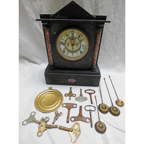 1012 - LATE 19TH CENTURY BLACK SLATE THE ANSONIA MANTLE CLOCK WITH PENDULUMS & 10 CLOCK KEYS...