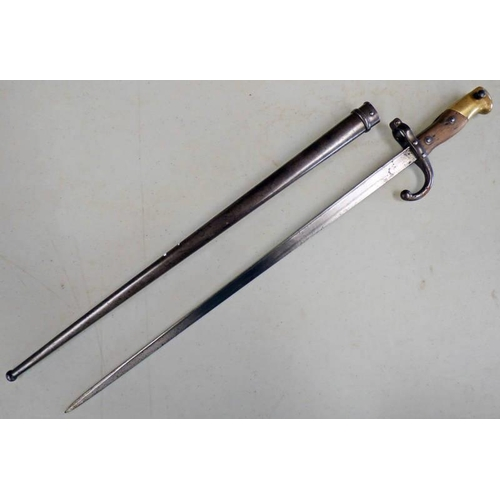 1016 - FRENCH M1874 GRAS BAYONET, SPINE ETCHED '1875', 52CM LONG, HOOKED QUILLION WITH SCABBARD...