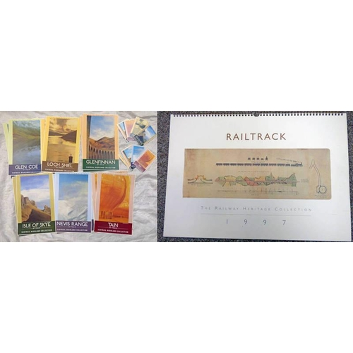 1017 - 2 SETS OF 6 THE HIGHLAND LINES , POSTCARDS SCOTRAIL HIGHLAND COLLECTION & 12 THE HIGHLAND LANE POSTE...