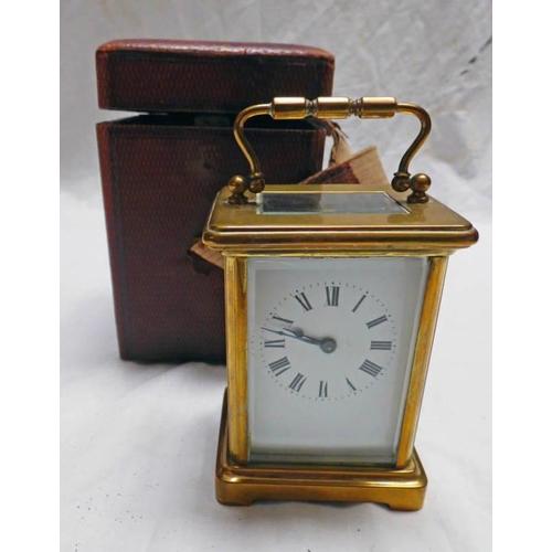 1024 - LATE 19TH CENTURY BRASS CARRIAGE CLOCK, 11.5CM TALL...