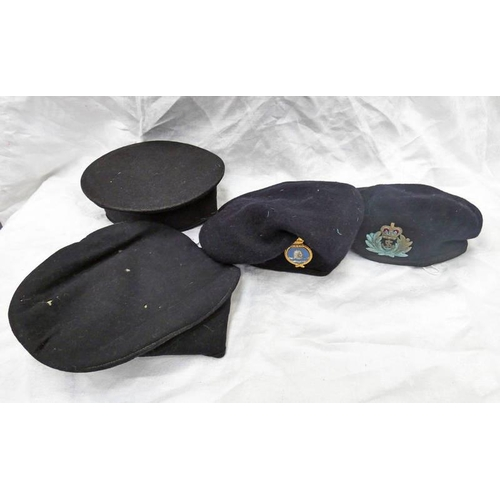 1037 - TWO JUNIOR RATINGS BLUE TOPPED ROUND HATS AND TWO BERETS, ONE WITH BADGE TO ROYAL NAVY AUXILIARY SER...