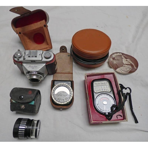 1044 - HUNTER 35 CAMERA WITH STEINER BAY REUTH LENS, WESTON MUSTER 11 EXPOSURE METER LEATHER CASED EXCELSIO...