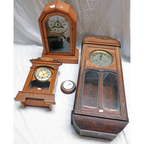 1049 - MAHOGANY CASED  8 DAYS CLOCK, POSSIBLY FOR A CAR, 19TH CENTURY PINE CASED AMERICAN MANTLE CLOCK, OAK...