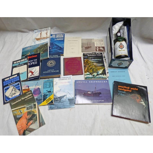 1052 - VARIOUS VOLUMES BOOKS CONCERNING NAVAL MATTERS, SHIP WRECKS ETC AND ONE BOTTLE HMY BRITTANIA COMMERA...