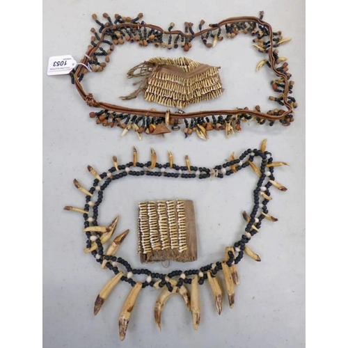 1053 - AFRICAN TRIBAL NECKLACES MADE UP OF LARGE ANIMAL TEETH AND BEADS, SIMILAR NECKLACE BUT WITH SMALLER ...