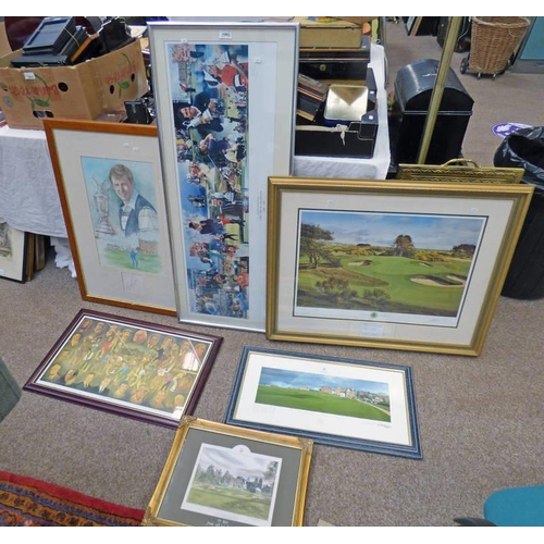 1063 - SELECTION OF FRAMED GOLFING RELATED PRINTS TO INCLUDE A GILT FRAMED LIMITED EDITION PRINT OF CARNOUS...