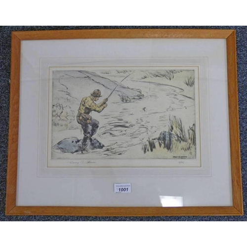 1001 - HENRY WILKINSON,  FLY FISHING,  SIGNED,  FRAMED COLOURED ETCHING,  21 X 34CM