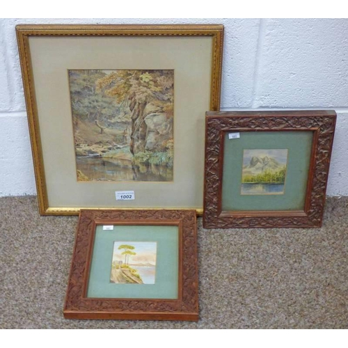1002 - PAIR FRAMED WATERCOLOURS IN CARVED FOLIATE DECORATED FRAMES & A GILT FRAMED WATERCOLOUR OF RIVERSCEN...