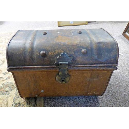 1004 - 19TH CENTURY METAL STUDDED BOX WITH 2 HANDLES & BRASS LOCK - 37CM LONG