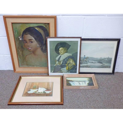 1005 - FRAMED OIL PAINTING OF AN ASIAN LADY, VARIOUS PRINTS ETC