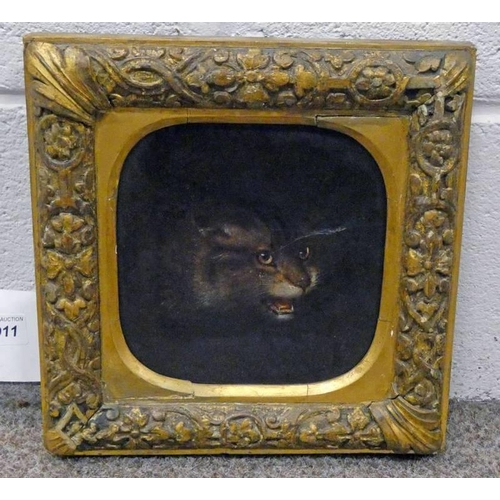 1011 - 18TH OR 19TH CENTURY GILT FRAMED OIL ON PANEL OF CATS HEAD - 17 X 17CM