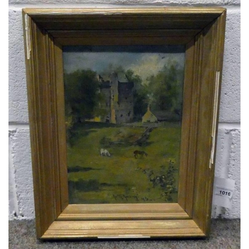 1016 - GILT FRAMED OIL PAINTING ON PANEL - INDISTINCTLY SIGNED 32 X 22CM