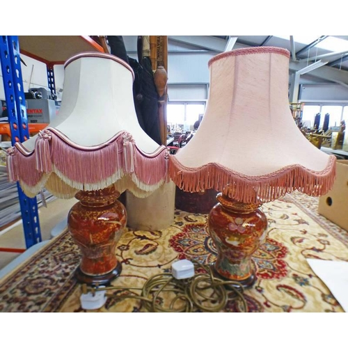 1017 - 2 PORCELAIN TABLE LAMPS WITH RED & GILT DECORATION