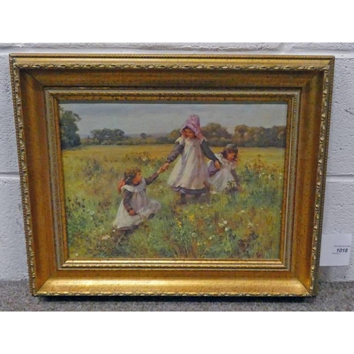 1018 - AFTER WILLIAM AFFLECK,  GIRLS IN A MEADOW,  FRAMED PICTURE