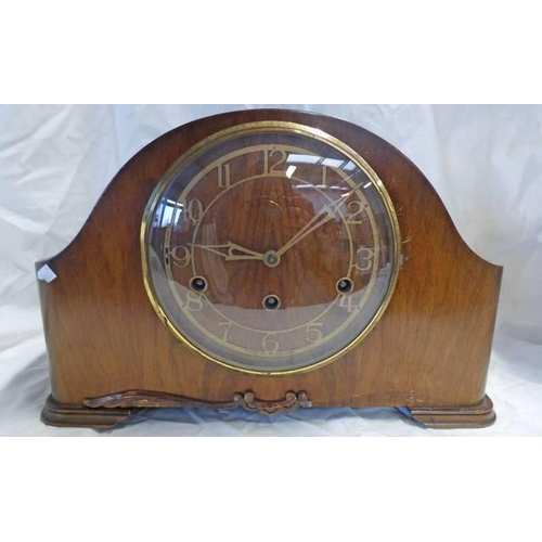 1019 - WALNUT WESTMINSTER CHIME CLOCK