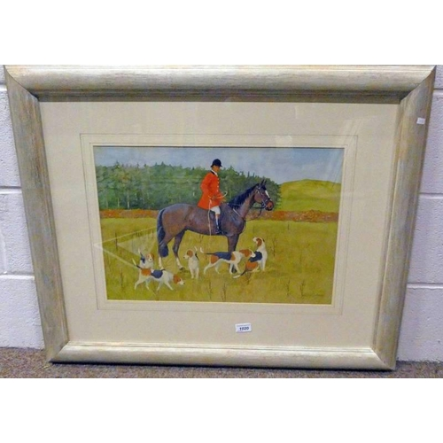 1020 - RALSTON GUDGEON,  HORSEMAN AND HOUNDS,  SIGNED,  FRAMED WATERCOLOUR,  37 X 54CM