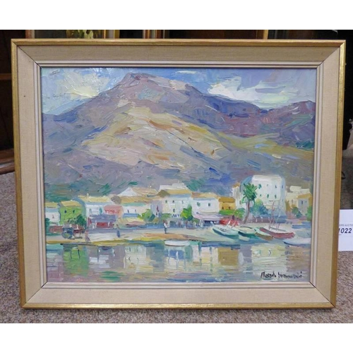 1022 - POSSIBLY HAMISH LAWRIE MEDITERRANEAN COASTAL SCENE,  INDISTINCTLY SIGNED,  FRAMED OIL PAINTING,  31 ...