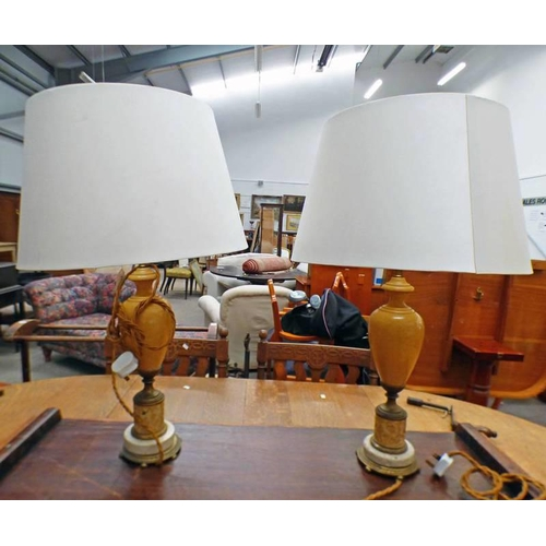 1025 - PAIR OF TABLE LAMPS ON CIRCULAR BRASS BASES DECORATED WITH CLASSICAL SCENES