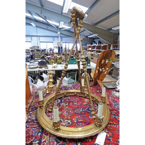 1027 - LATE 19TH CENTURY GILT CENTRE PENDANT LIGHT FITTING WITH 6 LIGHTS - 80CM WIDE X 105CM TALL