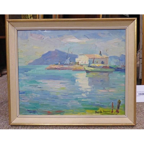 1028 - POSSIBLY HAMISH LAWRIE MEDITERRANEAN SUMMER HARBOUR, INDISTINCTLY SIGNED FRAMED OIL PAINTING 31 X 39...