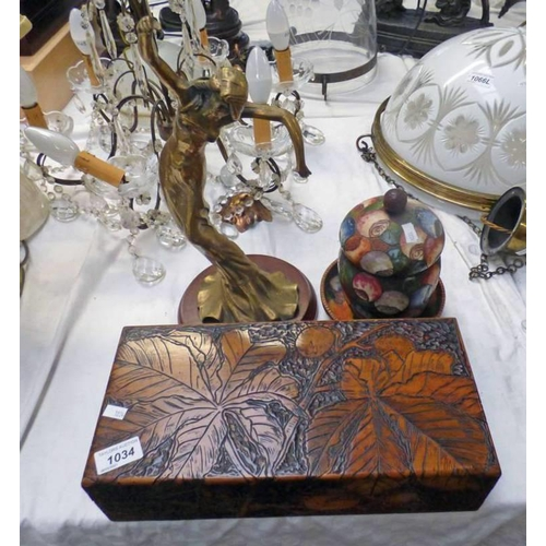 1034 - ARTS & CRAFTS BOX WITH DECORATIVE CARVING - 35CM LONG, 2 ARTS & CRAFTS WOODEN BOXES, BRASS ART NOUVE...