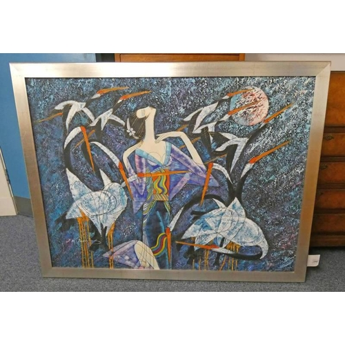 1040 - FLYING BIRDS,  INDISTINCTLY SIGNED,   FRAMED OIL PAINTING,  90 X 121CM