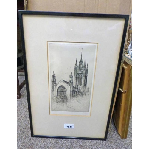 1041 - JACKSON SIMPSON,  MARISCHAL COLLEGE,  SIGNED,  FRAMED ETCHING,  24 X 14 CM