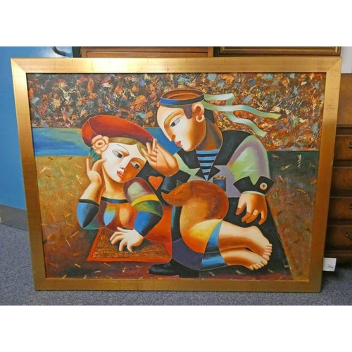 1043 - C LOFT,  SAILOR WITH GIRL,  SIGNED FRAMED OIL PAINTING,