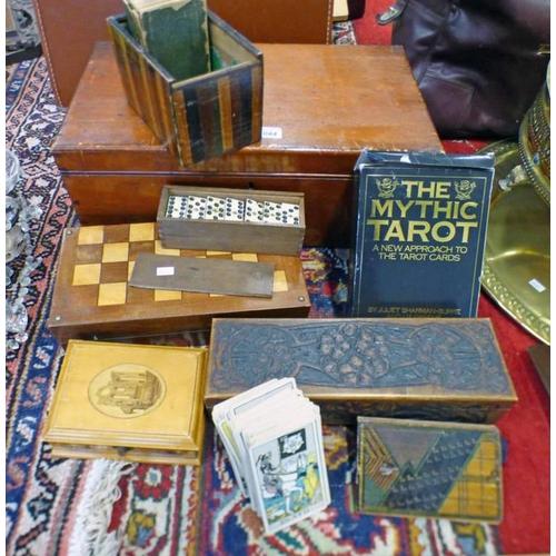 1044 - MAHOGANY BOX WITH GAMES BOX, DOMINOES, TAROT CARDS, MAUCHLINE BOX, AND ARTS & CRAFTS STYLE CARVED BO...