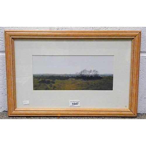 1047 - RODGER INSH,  MONTROSE FROM THE NORTH,  SIGNED & DATED 1991,  FRAMED GOUACHE,  12 X 27CM