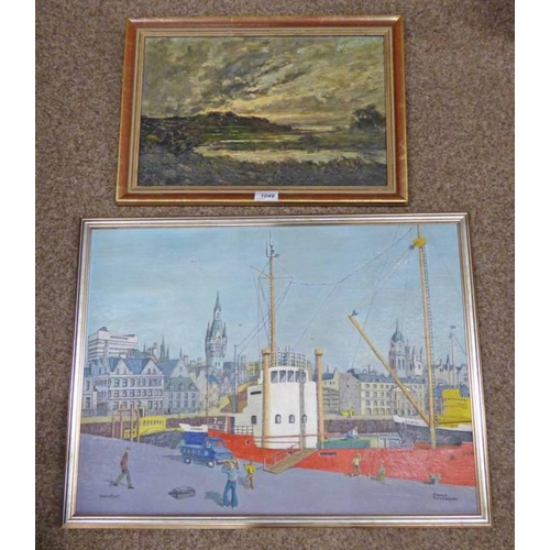 1049 - FRAMED OIL PAINTING OF HIGHLAND LOCH SCENE & OIL PAINTING OF ABERDEEN WATERFRONT  SIGNED OSWALD SWIN...
