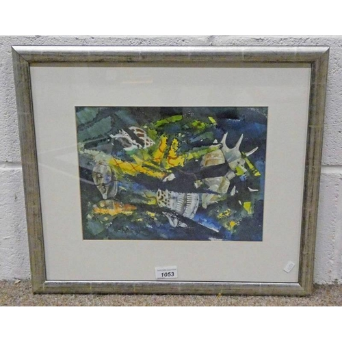 1053 - IAN HAMILTON,  COQUILLAGE 1 WITH LABEL TO REVERSE,  SIGNED,  FRAMED MIXED MEDIA PAINTING,  23 X 30CM