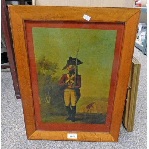 1057 - MAPLE FRAMED PRINT ON GLASS FOOT SOLDIER - 41 X 29 CM