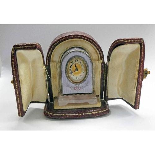 1 - LATE 19TH CENTURY MINIATURE ENAMEL TRAVEL CLOCK, THE CONTINENTAL SILVER DOME TOPPED CLOCK DECORATED ...